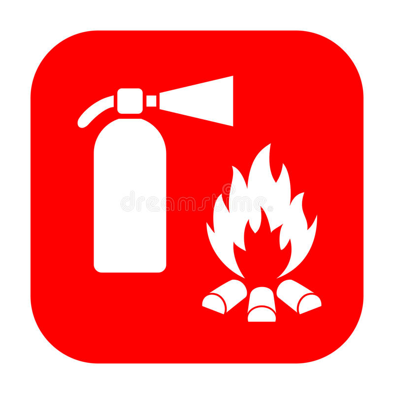 Extinguisher and fire safety sign. Extinguisher and fire safety vector sign vector illustration