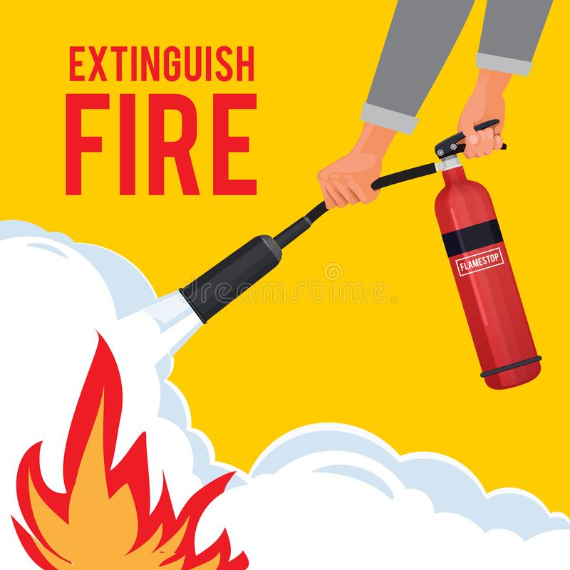 Extinguisher in hands. Firefighter with fire red extinguisher extinguish big flame vector attention placard. Illustration of instruction extinguishing royalty free illustration