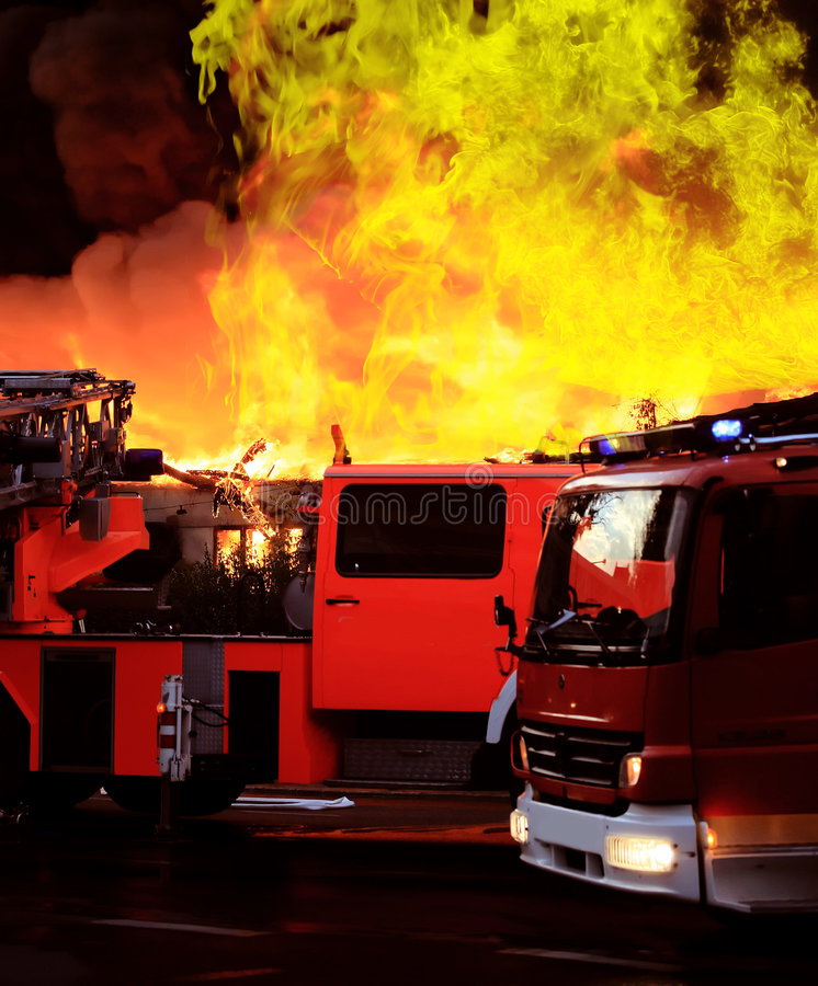Download Extinguishing big fire stock image. Image of factory, factories - 8672857