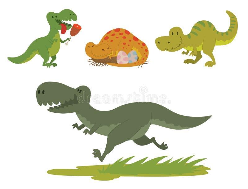 Extinto prehistórico despredador jurásico salvaje del tiranosaurio de Dino del vector de los dinosaurios del t-rex del peligro de ilustración del vector