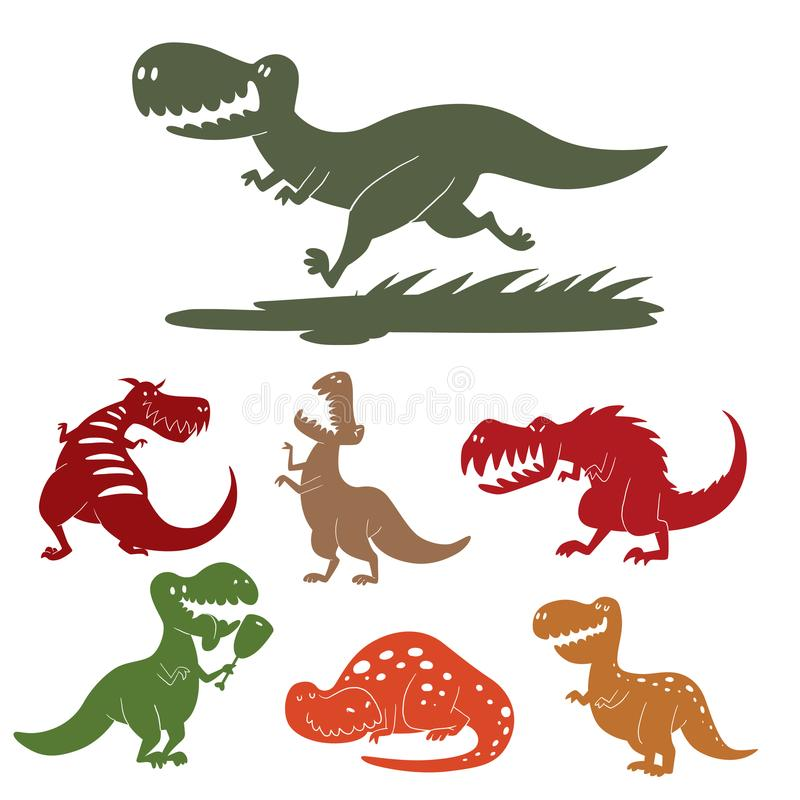 Extinto prehistórico despredador jurásico salvaje del tiranosaurio de Dino del vector de los dinosaurios del t-rex del peligro de libre illustration