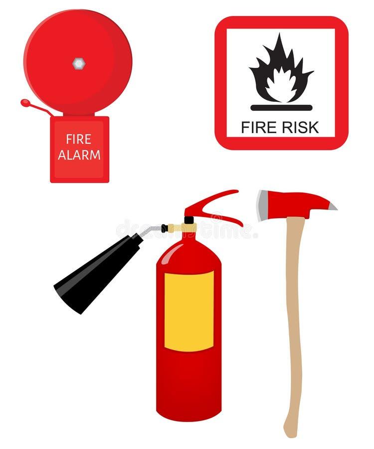 Extintor, alarme, sinal do risco de fogo e machado ilustração royalty free