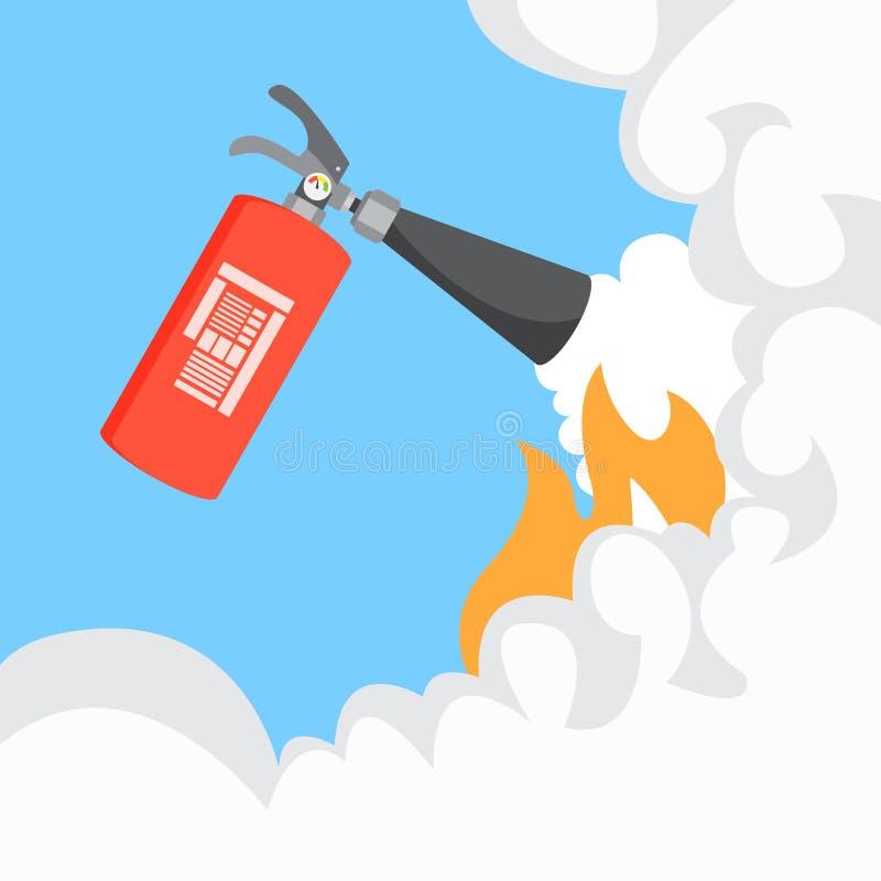 Extintor com fumo ilustração do vetor