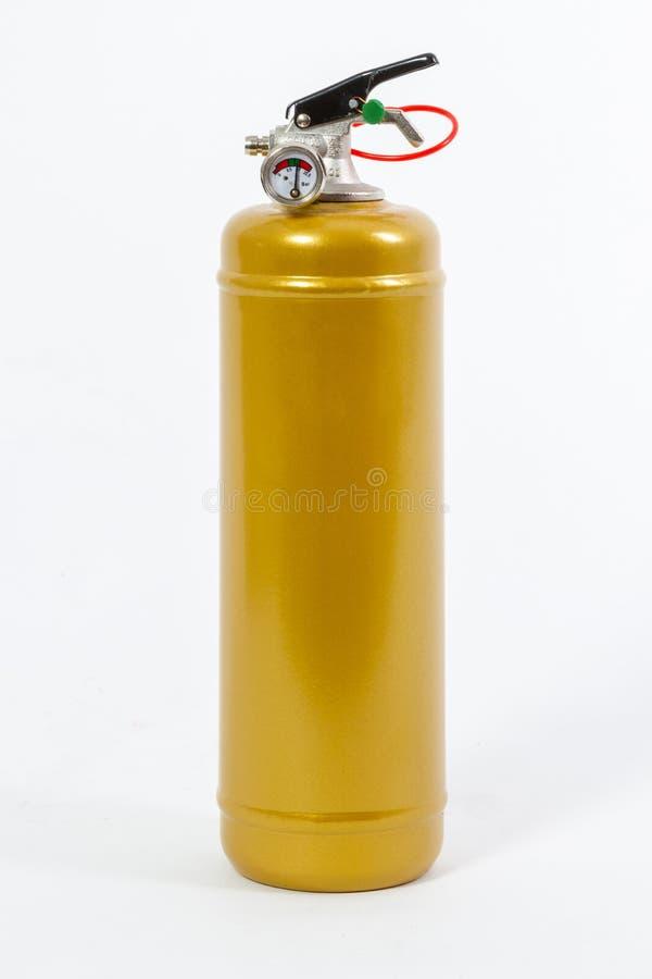 Extintor retro colorido ouro isolado no backgroun branco imagens de stock