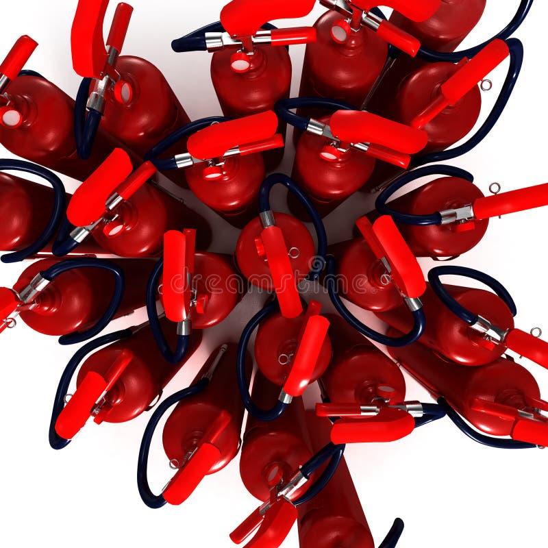 Extintores aéreos do tiro ilustração do vetor