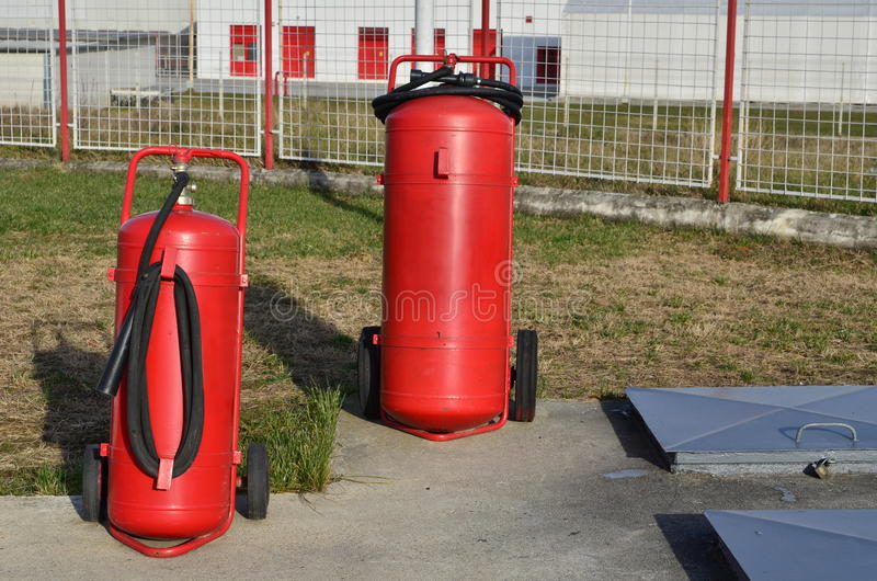 Extintores grandes fotografia de stock royalty free