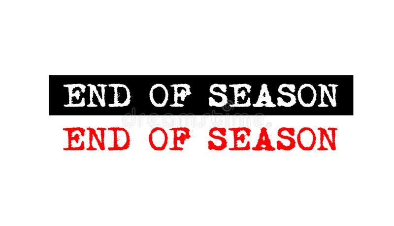 extrémité d'insigne de tampon en caoutchouc de saison avec le logo réglé d des textes de machine à écrire illustration stock