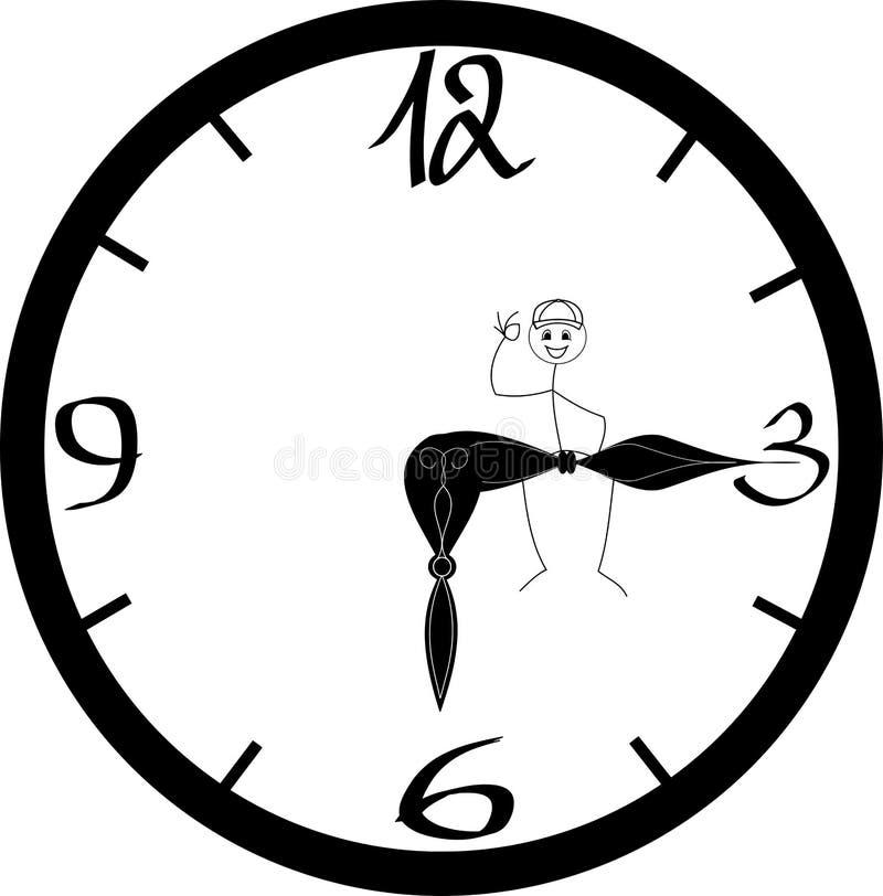 Extrémité d'un jour ouvrable/de chiffre de bâton se reposant heureusement sur l'indicateur se dirigeant à six horloges de ` d'o illustration libre de droits