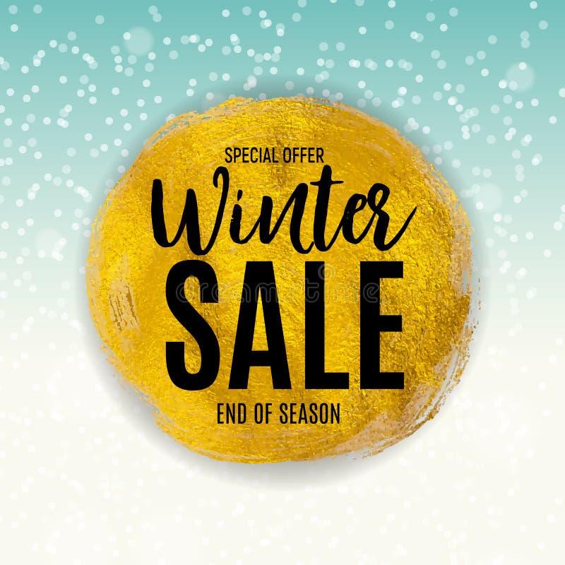 Extrémité de fond de vente d'hiver, calibre de bon de remise Illustration de vecteur illustration stock