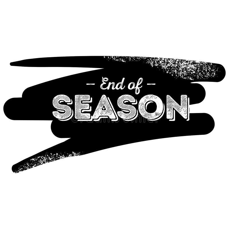 Extrémité de label de noir de saison avec le fond grunge de traçage illustration stock