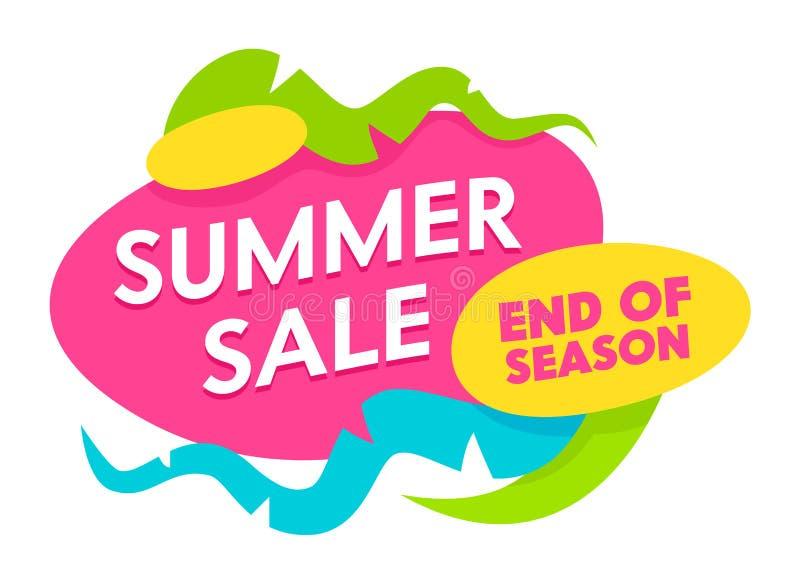 Extrémité de vente d'été de bannière de saison avec des formes abstraites et des éléments d'isolement sur le fond blanc Vacances  illustration libre de droits