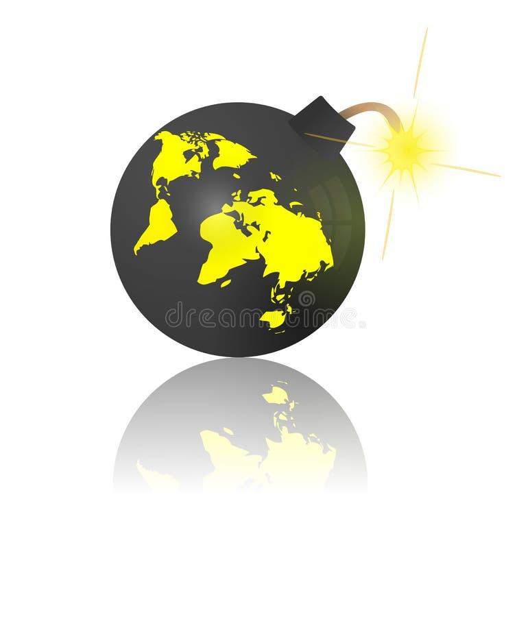 Extrémité du monde. Panne avec la carte de la terre illustration libre de droits