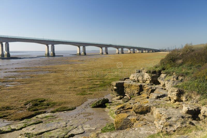 Extrémité occidentale de deuxième Severn Crossing, pont au-dessus de Bristol C image stock