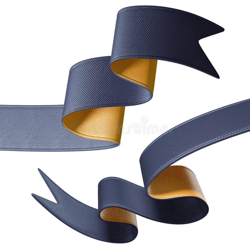 extrémités de ruban de noir de l'or 3d d'isolement sur le fond blanc illustration de vecteur
