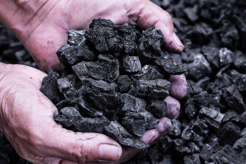 Extração de carvão: mineiro de carvão nas mãos do homem do fundo de carvão Pi imagem de stock royalty free