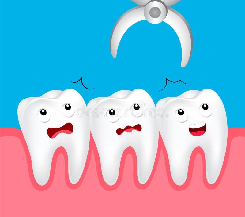 Extração dental do dente bonito dos desenhos animados ilustração do vetor