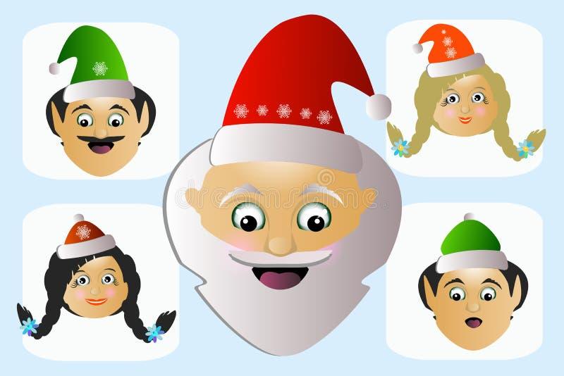 Extraño excéntrico díscolo de la cabeza del icono de Santa Claus sus ayudantes algunas personas ilustración del vector
