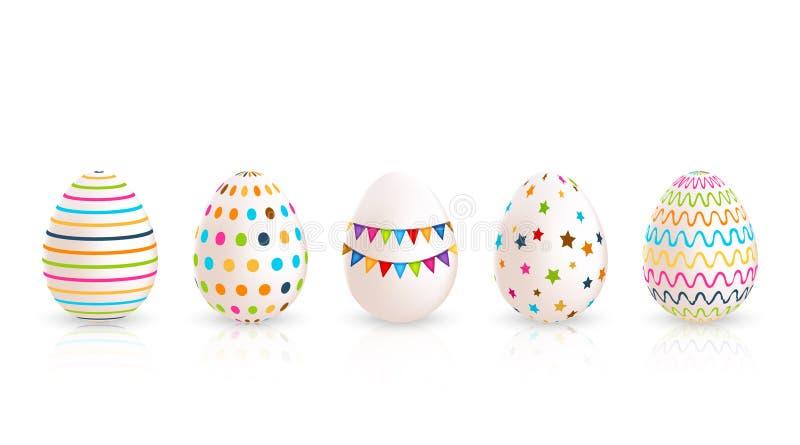 extra bakgrund är färgrika easter ägg, isolerad som set stordiavektorwhite skallr också vektor för coreldrawillustration stock illustrationer