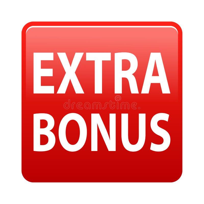 Extra bonus button. Simple vector illustration of extra bonus red web button icon on isolated white background stock illustration