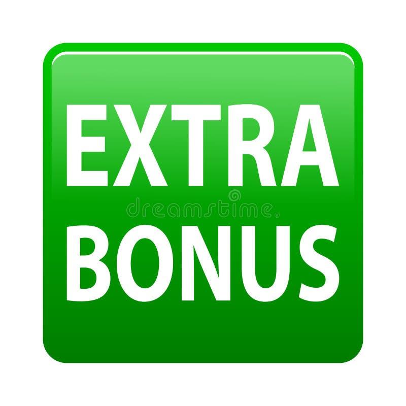 Extra bonus button. Simple vector illustration of extra bonus green web button icon on isolated white background stock illustration