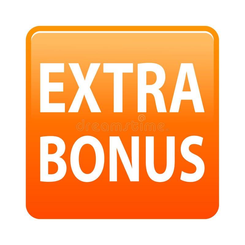 Extra bonus button. Simple vector illustration of extra bonus orange web button icon on isolated white background stock illustration