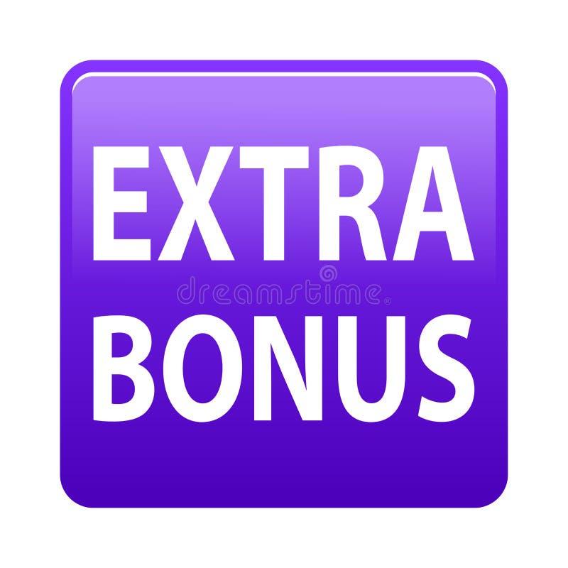 Extra bonus button. Simple vector illustration of extra bonus violet web button icon on isolated white background royalty free illustration