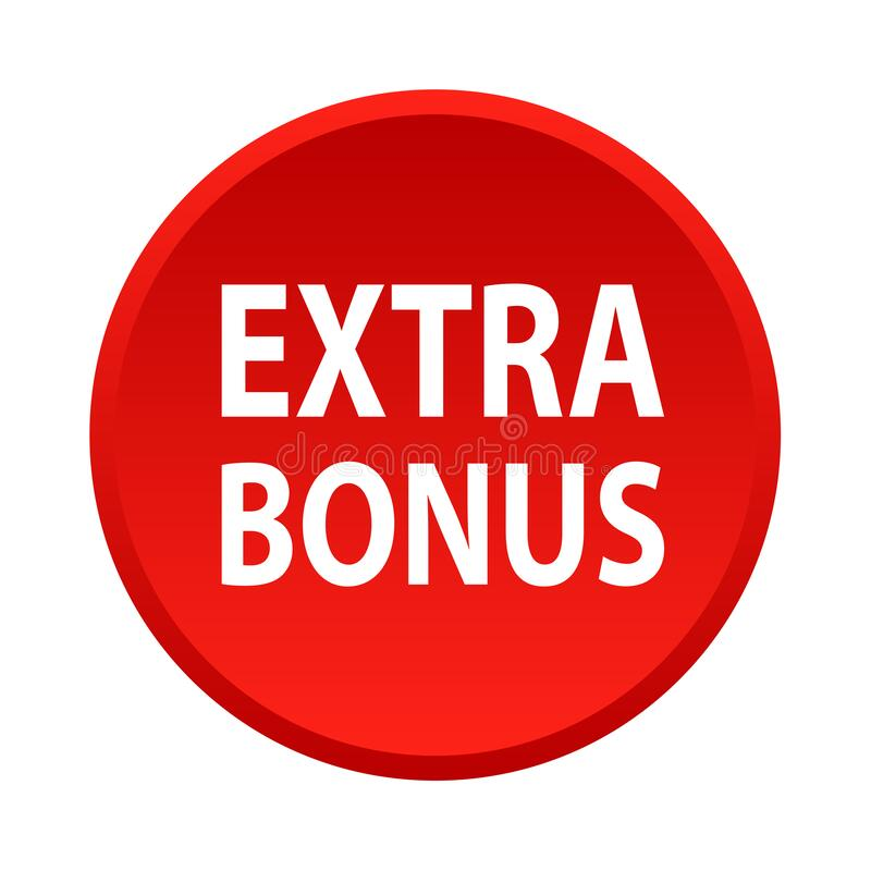 Extra bonus button. Simple vector illustration of extra bonus red web button icon on isolated white background royalty free illustration