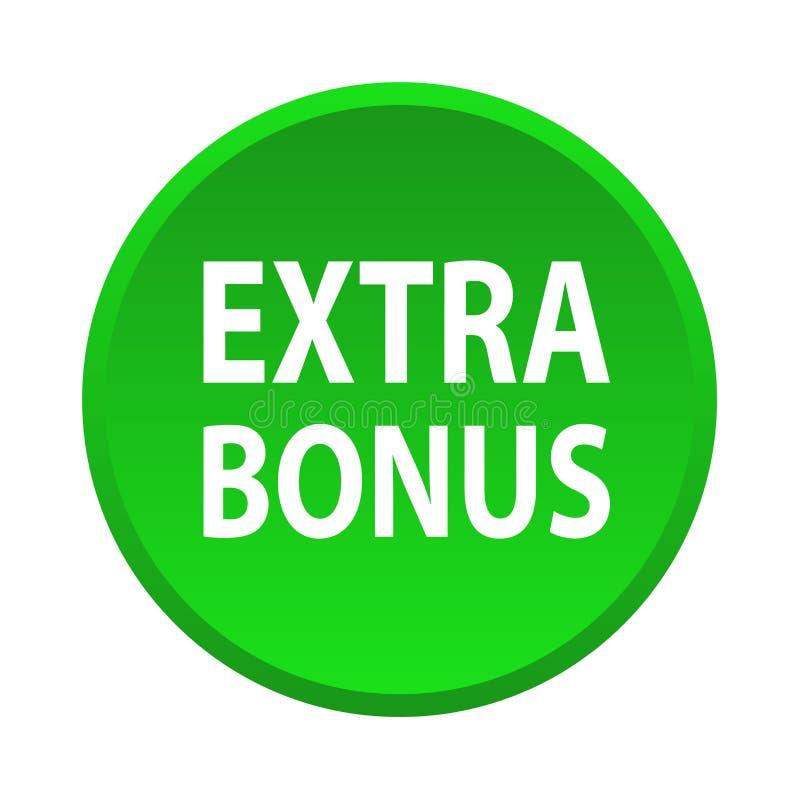 Extra bonus button. Simple vector illustration of extra bonus green web button icon on isolated white background vector illustration