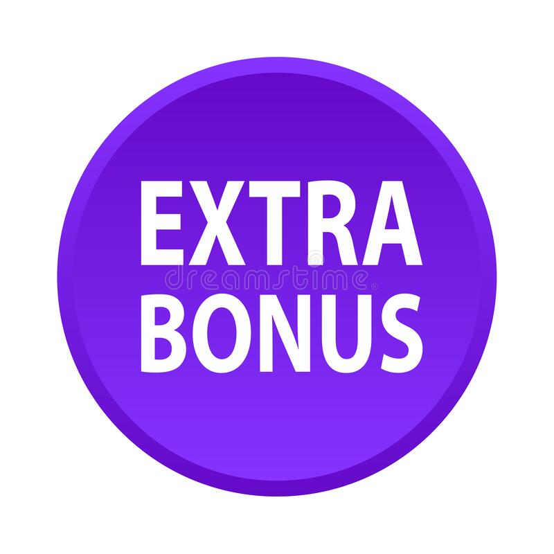 Extra bonus button. Simple vector illustration of extra bonus violet web button icon on isolated white background vector illustration