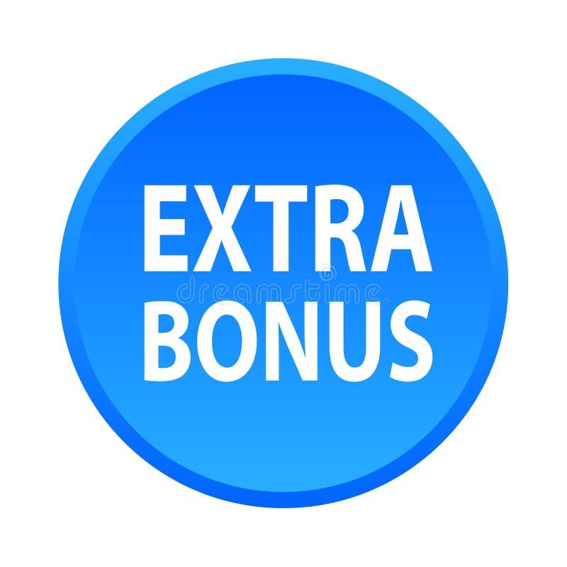 Extra bonus button. Simple vector illustration of extra bonus blue web button icon on isolated white background vector illustration