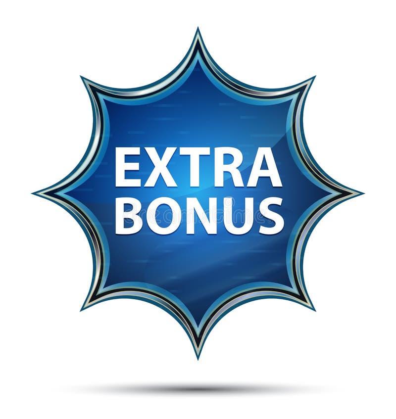 Extra Bonus magical glassy sunburst blue button vector illustration