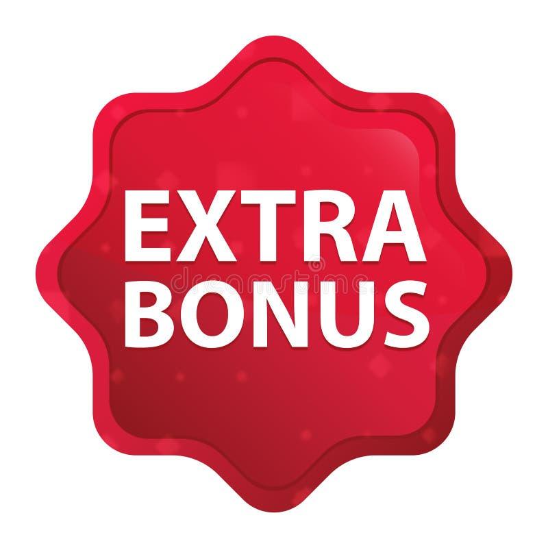 Extra Bonus misty rose red starburst sticker button royalty free illustration