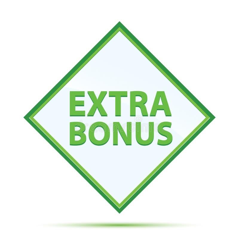 Extra Bonus modern abstract green diamond button stock illustration