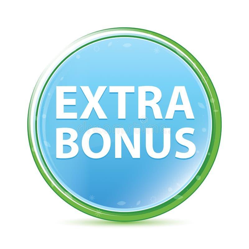 Extra Bonus natural aqua cyan blue round button stock illustration