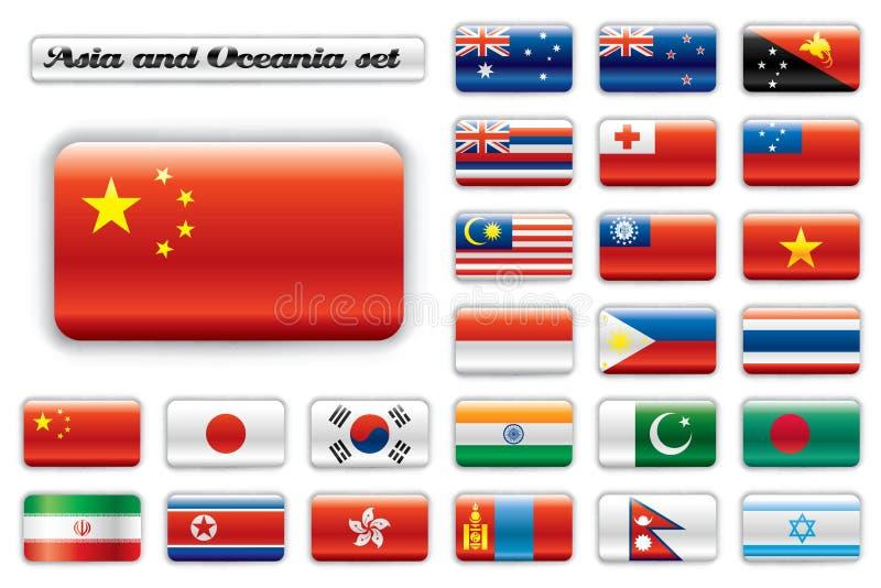 extra flaggor glansiga oceania för asia knapp vektor illustrationer