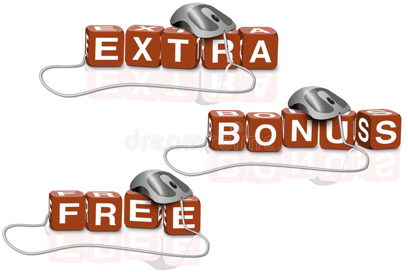 Extra free bonus sales bargain shop. Extra bonus or for free shop sell and sale on internet business with low or no price download a real bargain with online royalty free illustration