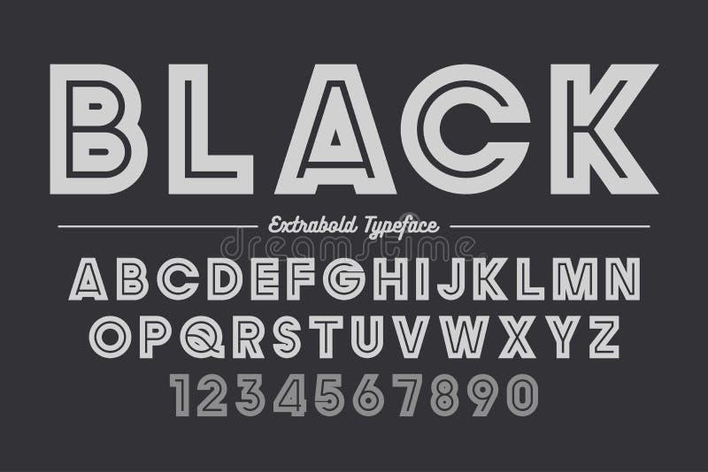 Extra Gewaagd vector decoratief gewaagd doopvontontwerp, alfabet, typefac vector illustratie