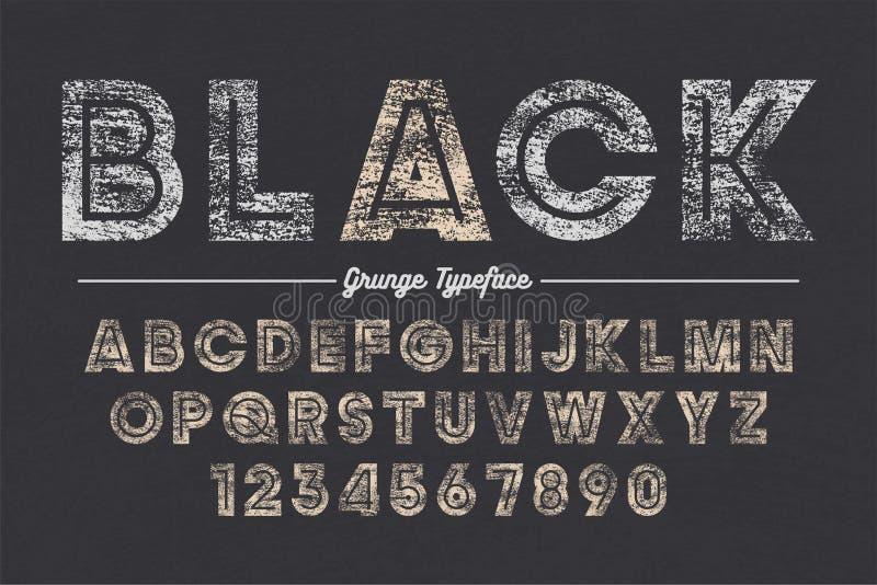 Extra Gewaagd vector decoratief gewaagd doopvontontwerp, grunge, alfabet, lettersoort royalty-vrije illustratie