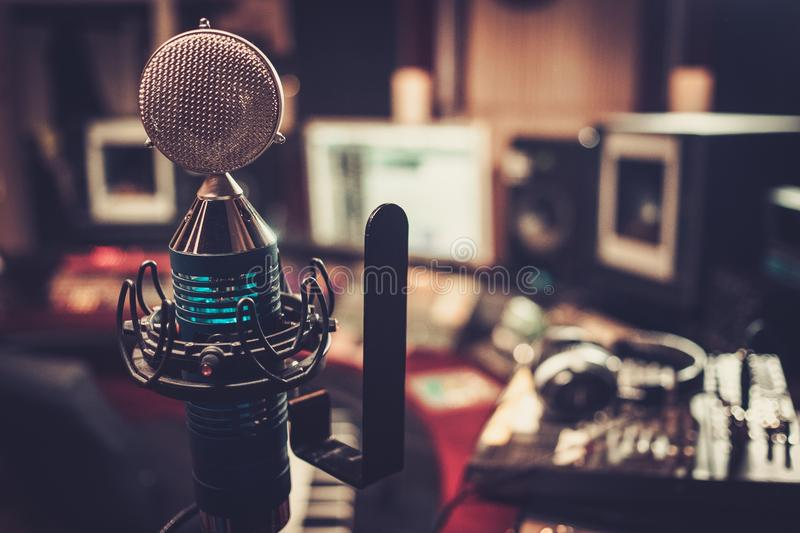 Extra high definition microphone at recording studio. Extra high definition microphone at boutique recording studio royalty free stock photos