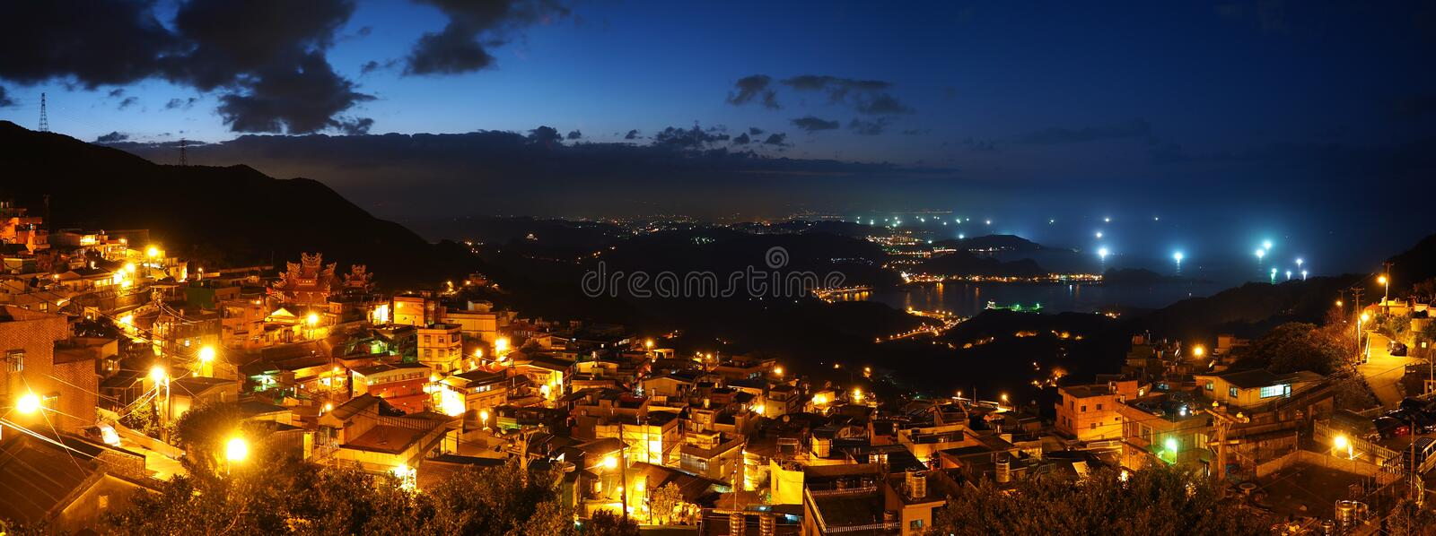 Extra High Resolution Panorama Night Image of Coas. Tline in Taipei royalty free stock photography