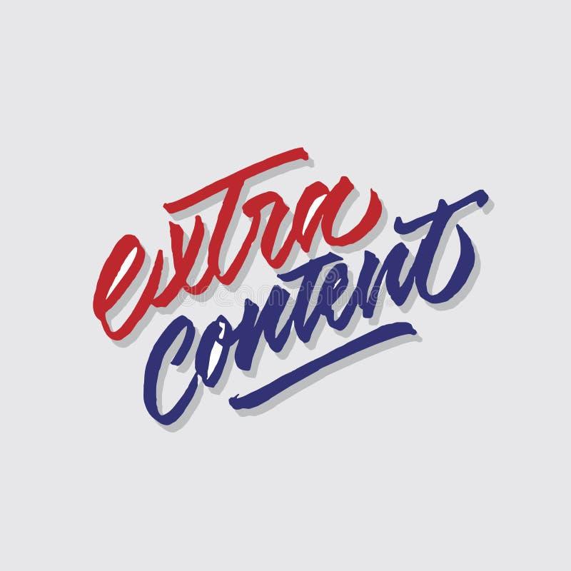 Extra inhoudshand het van letters voorzien typografie verkoop en marketing signage van de winkelopslag affiche stock illustratie