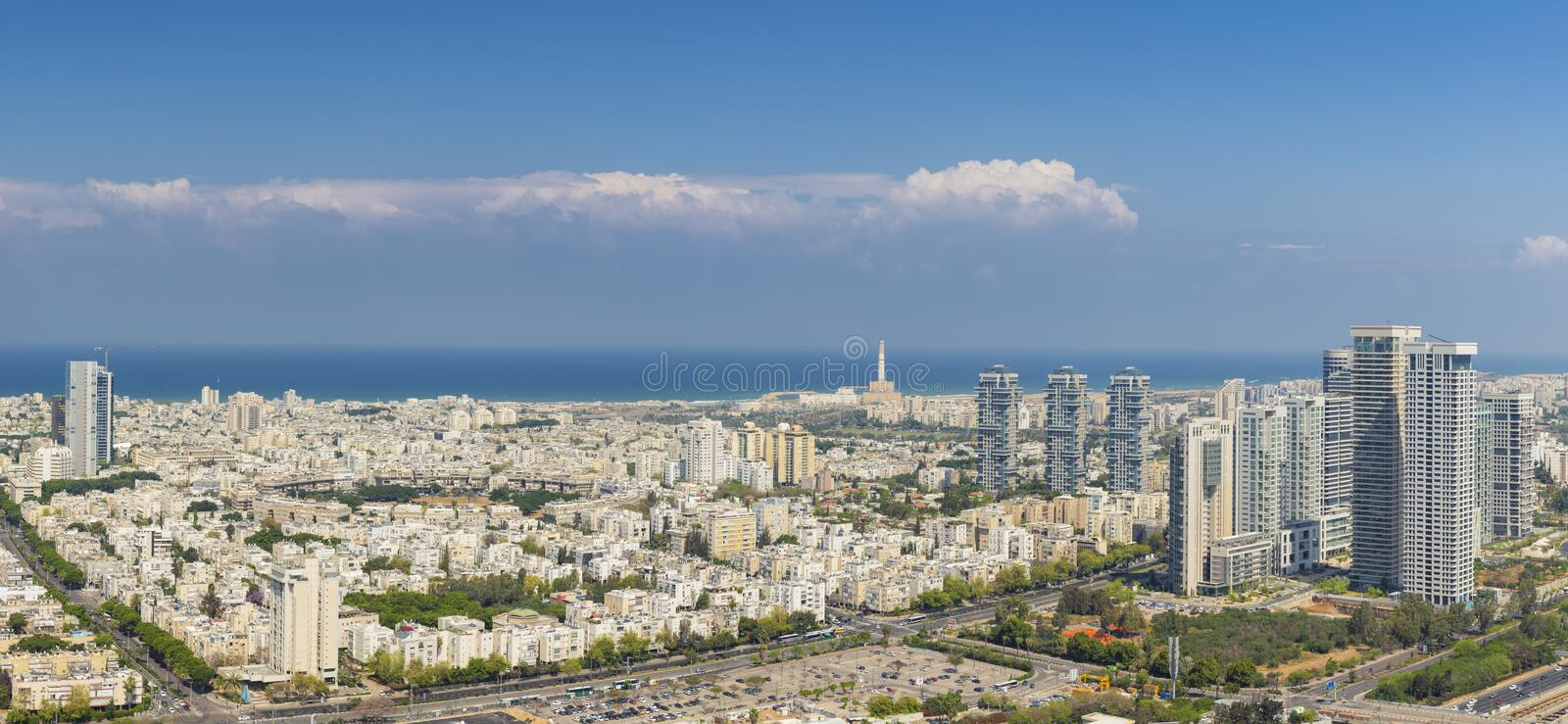 Large Panorama Of Tel Aviv Skyline, Tel Aviv Cityscape Large Panorama At Day, Israel stock photo