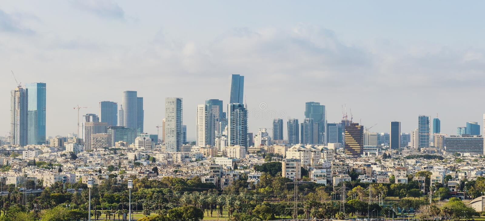 Large Panorama Of Tel Aviv Skyline, Tel Aviv Cityscape Large Panorama At Day, Israel stock image