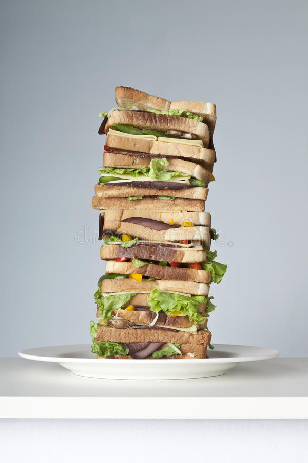 Download Extra Large Sandwich On A Plate Stock Photo - Image: 18263112