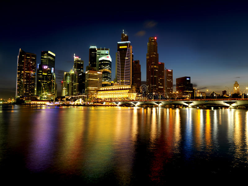 Extra large Singapore nightscene. Picture of the Singapore Landscape taken at dusk. Taken with a medium format so that the details are sharp and useful for royalty free stock photo