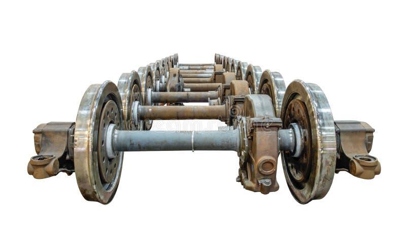 Extra spoorwegwielen op de as in het reparatiewerk stock afbeelding