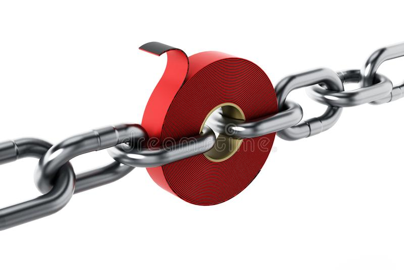 Extra stark tejp bland chain delar illustration 3d vektor illustrationer
