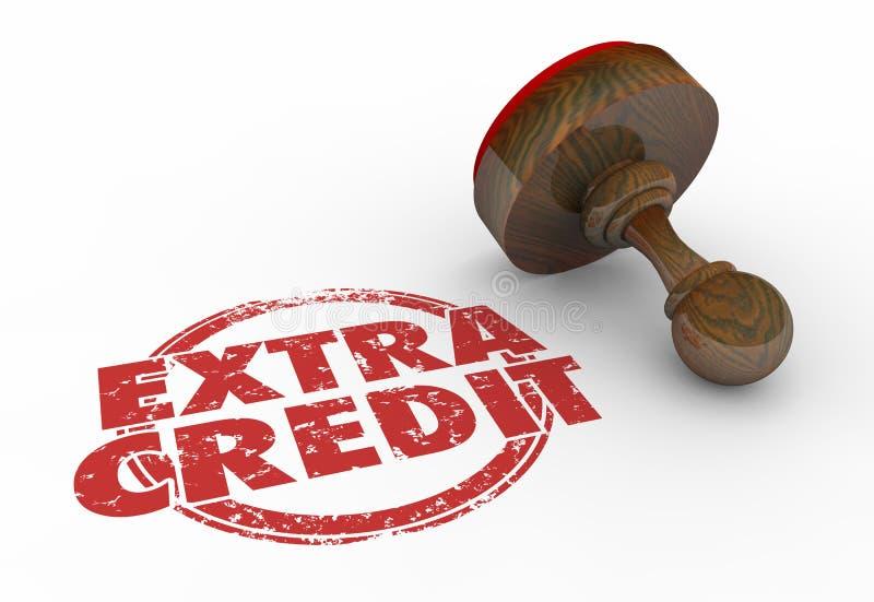Extra uppgift för arbete för krediteringsstämpelbonus Job Words stock illustrationer