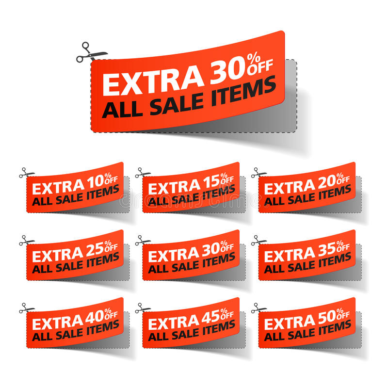 Extra Verkoopcoupons vector illustratie