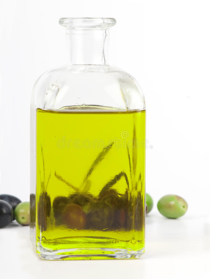 Extra Virgin Olive Oil With Fresh Olives. Stock Images